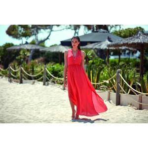 Rochie de plajă coral din vâscoză by Selmark
